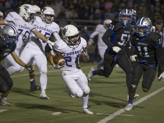 Spanish Springs running back Gabby Ordaz runs against McQueen ilast season