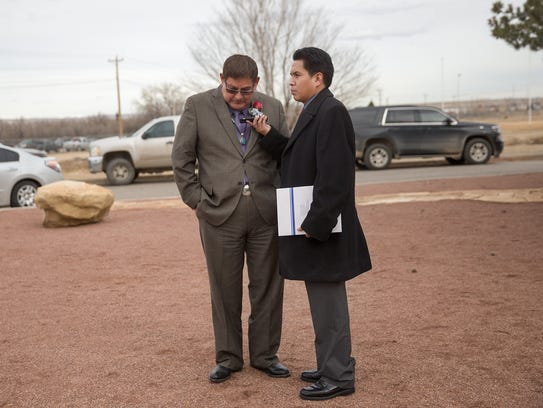 Navajo Nation Council Speaker LoRenzo Bates, left,