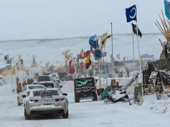 The Oceti Sakowin campground near Cannon Ball, N.D.,