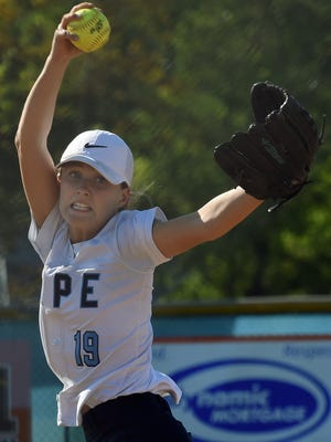 Cape pitcher Riley Shields fire one to a batter as Cape Henlopen hosted Laurel at the school near Lewes on Thursday.