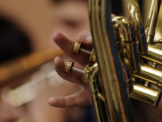 Courtnie Kulas plays the euphonium during the opening