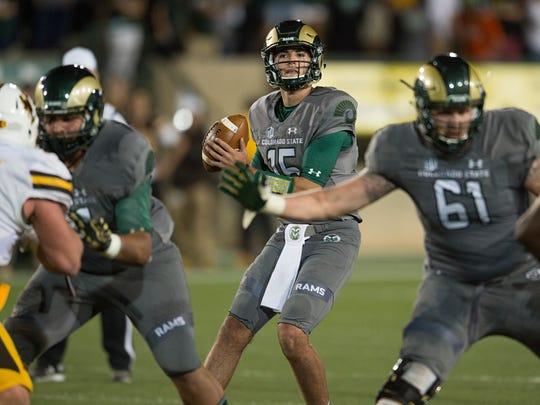 CSU quarterback Collin Hill threw for 370 yards Saturday night in the Rams' 38-17 loss to Wyoming at Hughes Stadium.
