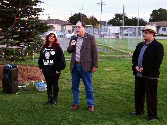 Salinas Mayor Joe Gunter speaks during the Tree of Life lighting Saturday hosted by A Time for Grieving and Healing.