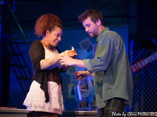 Eric Lawry as Roger and Krysten Cummings as Mimi in 'Rent' at the Ritz Theatre Company.