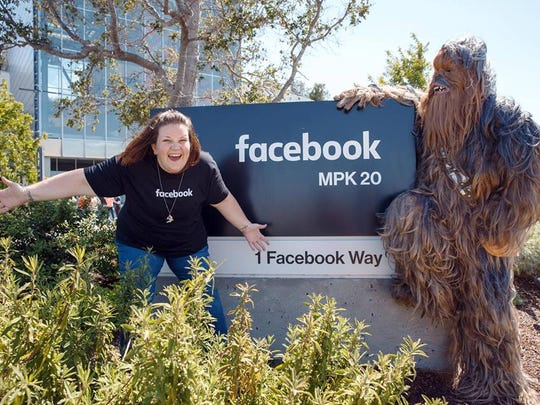 Candace Payne and Chewbacca on Facebook's Menlo Park,