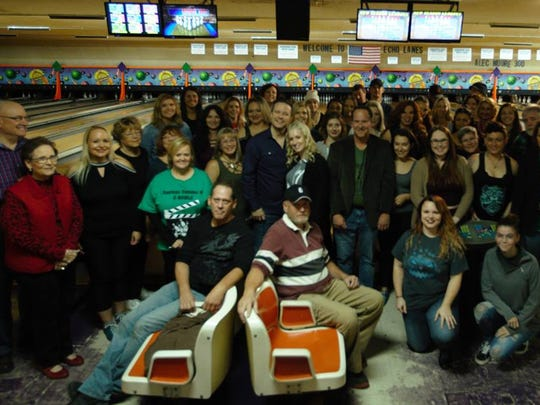 "The entire cast and crew of ""E-BOWLA"" poses for a photo in Henderson's Echo Lanes last October."