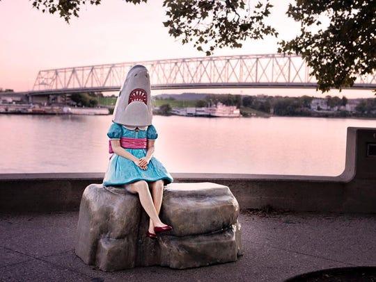 """Shark Girl with Ohio River"" (2012) by Casey Riordan"
