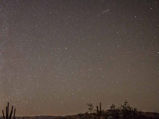Orionid meteors from Tuesday morning at Saguaro National