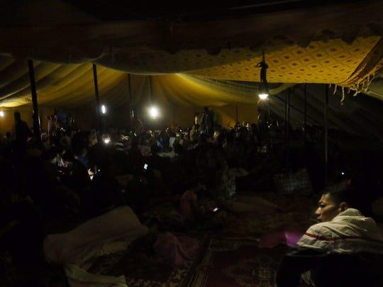 A temporary encampment in Kathmandu fills up again following a 7.3-magnitude earthquake Tuesday.