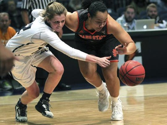 Montana State's Annika Lai Delany Junkermier (left) and Idaho State guard Saylair Grandon chase down a loose ball during the Big Sky tournament in Reno last year.