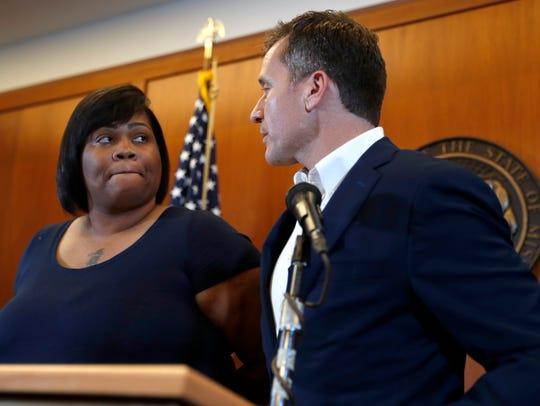 Missouri Gov. Eric Greitens, right, and Christina Wilson,
