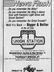 A 1986 advertisement for former Union Station Restaurant at the corner of North Union St. and Pennsylvania Ave. in Wilmington.