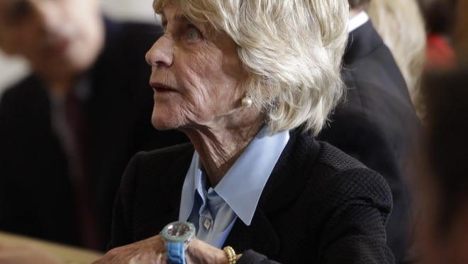 FILE - In this Jan. 20, 2011 file photo, Jean Kennedy Smith attends a ceremony marking the 50th anniversary of President John F. Kennedy's inaugural speech on Capitol Hill in Washington. Jean Kennedy Smith, the youngest sister and last surviving sibling of President John F. Kennedy, died at 92, her daughter confirmed to The New York Times, Wednesday, June 17, 2020.