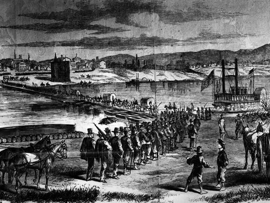 A pontoon bridge spanned the Ohio River in 1862 to protect Cincinnati from invaders. This photo is part of the Taft Museum collection.