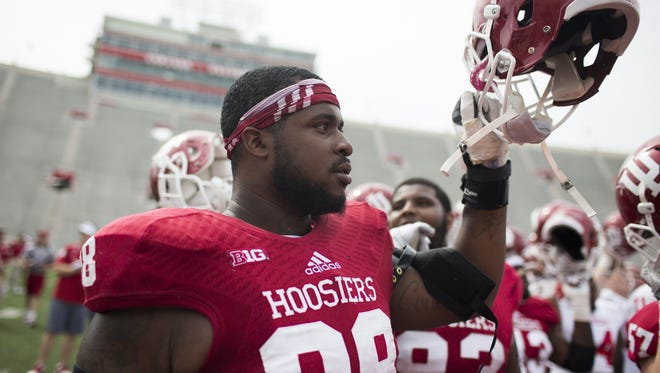 Indiana defensive lineman Darius Latham (98) was back at practice on Monday for the Hoosiers.