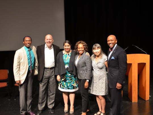 L to r - Thomas Warfield, Mark Nerenhausen, Rachel DeGuzman, Essie Calhoun, Nancy Gong and Kevin Walker. Photo by Ralph Thompson