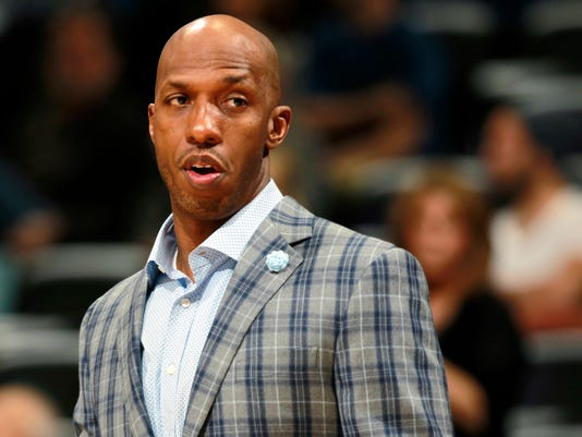 FILE - In this March 19, 2014 photo, Detroit Pistons guard Chauncey Billups watches from the sideline during an NBA basketball game against the Denver Nuggets in Denver. Two people familiar with the negotiations say the Cleveland Cavaliers have not yet offered Billups a role in their front office. Billups and Cavs owner Dan Gilbert met for two days this week to discuss a position, but the talks did not lead to a formal offer, the people said. (AP Photo/David Zalubowski, File)