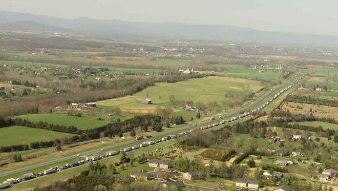 A view of the backup caused by a sinkhole on Interstate 81 in Shenandoah County on Sunday. Photo was taken by pilots Jeff Shingleton and Michael Godfrey.