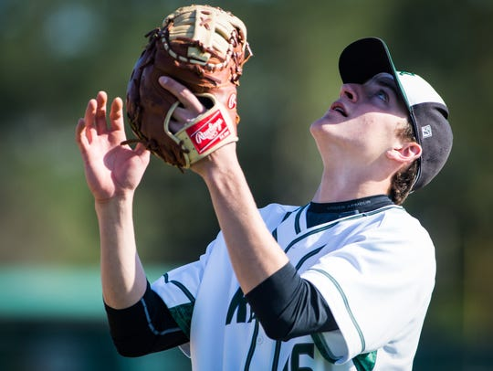 Parkside first baseman Andrew Smith (16) eyes in a