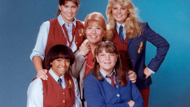 """Publicity photo of Charlotte Rae with fellow cast members of """"The Facts of Life"""" TV series."""