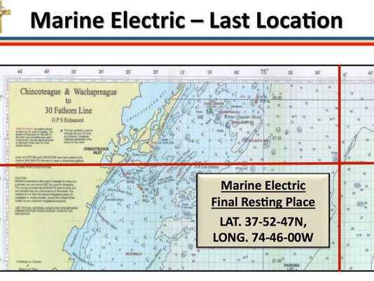 The map shows where the Marine Electric went down in the Atlantic Ocean.