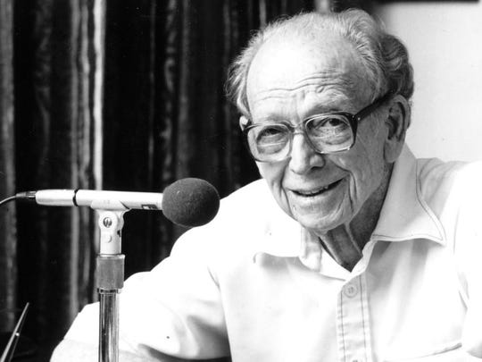 """After his second year doing Reds radio, Walter Lanier """"Red"""" Barber, pictured here in 1988, made his network debut calling the 1935 World Series for Mutual Broadcasting. Barber, who was born in Columbus, Mississippi, left Cincinnati after five seasons for New York, where he called Dodgers and Yankees games; did the first Major League Baseball televised game (1939); spent 10 years as CBS Radio sports director; and broadcast New York Giants football and college football. The Baseball Hall of Famer talked sports on National Public Radio until his death in 1992."""