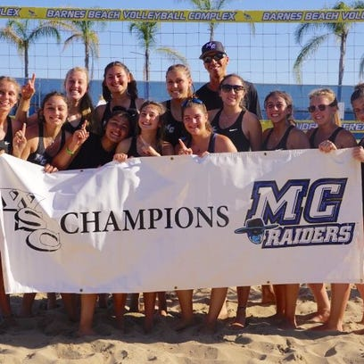 The Moorpark College women's beach volleyball team