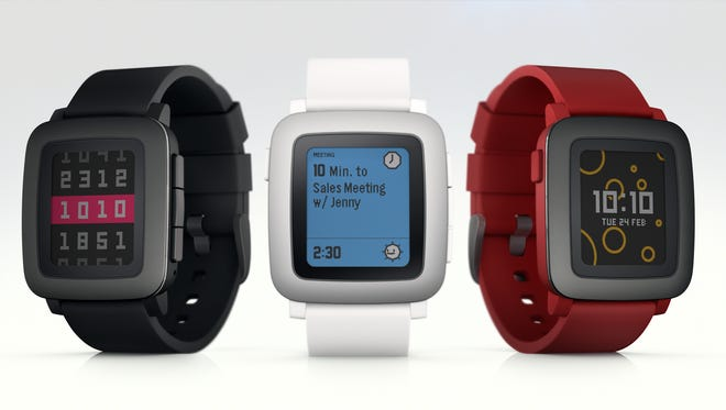 The Pebble Time smartwatch, which will start shipping in May.