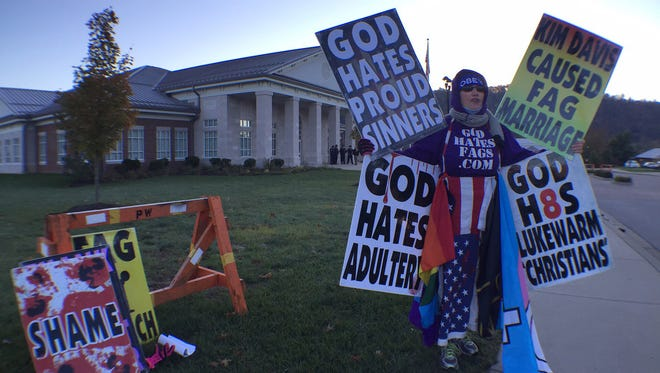 Members of Westboro Baptist Church protested against gay marriage and Rowan County (Ky.) Clerk Kim Davis on Monday, Oct. 19, 2015.