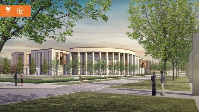 State officials are preparing for an April 6 groundbreaking to begin work on a new Tennessee State Museum at the intersection of Rosa Parks Boulevard and Jefferson Street. This rendering portrays how the east side of the new state museum will be seen from adjacent Bicentennial Park.