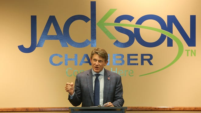 Tennessee Economic and Community Development Commissioner Randy Boyd speaks Wednesday at the Jackson Chamber.