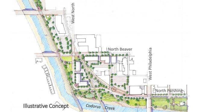This conceptual drawing for the Codorus Creek corridor was proposed to the public Thursday night.