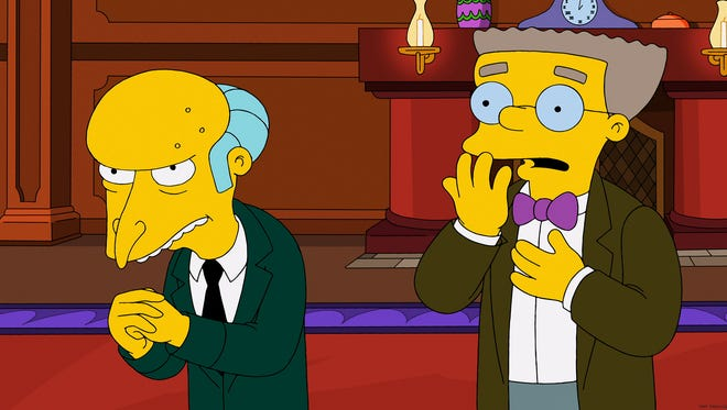 Mr. Burns (left) and his assistant Smithers.