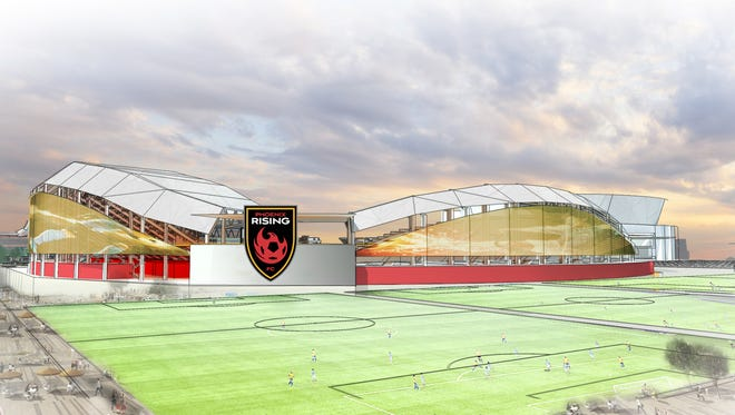 A rendering of the new stadium for the Phoenix Rising FC, which is will be near Loop 101 and Loop 202 on Salt River Pima-Maricopa Indian Community land.