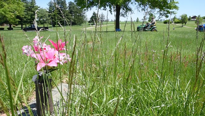 Brian Baublitz mows around a grave that needs attention at Suburban Memorial Gardens in Conewago Township. Baublitz put out an appeal for mowers after his brother-in-law was upset that the cemetery wasn't mowed.