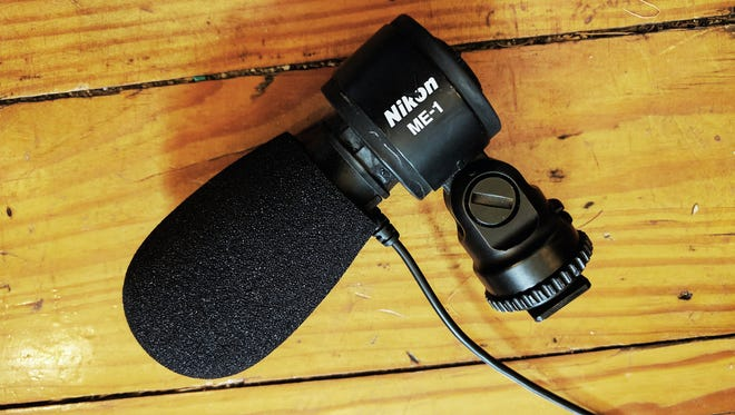 """The Nikon ME-1 microphone with a Auray WHF-2040 foam replacement windscreen for 3/4"""" diameter microphones installed."""