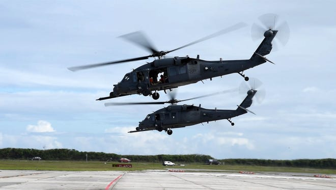 Two Air Force Reserve HH-60 Pave Hawk helicopter crews with the 920th Rescue Wing depart from Patrick Air Force Base, Florida, for the long-range rescue of a cruise ship passenger who required medical evacuation approximately 500 nautical miles off the coast of Florida Nov. 7, 2017. After rescuing the patient from the ship, the crew transported him to Holmes Regional Medical Center.