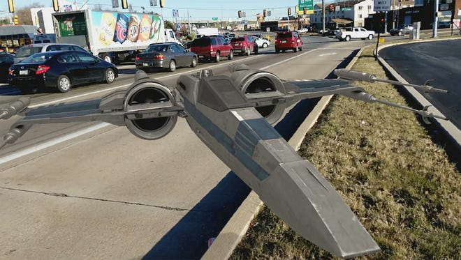 An X-wing fighter floats on Route 30 in Manchester Township with Google's AR stickers.
