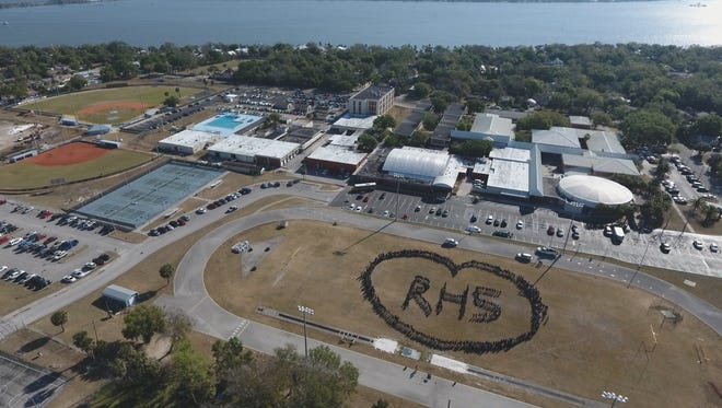 Students formed a heart on the football field during Rockledge High School's March 14 walkout demonstration. Students from schools across Brevard County walked out of class in solidarity with Parkland survivors and students across the nation calling for gun reform.