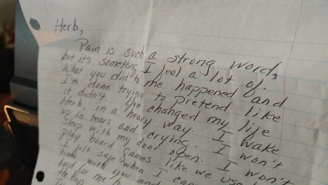 A Texas girl, now 13, wrote this letter which was read at the sentencing of Herb Peterson, 38. Peterson groped the then-12-year-old girl in April 2017 and called 911 on himself. He was sentenced April 3, 2018.