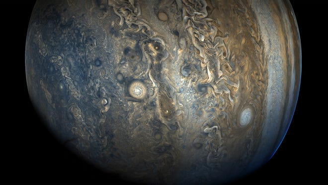 Jupiter – close-up of the southern hemisphere taken by the Juno spacecraft.