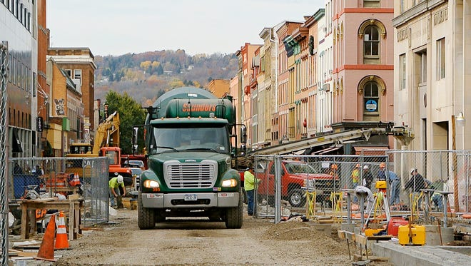 A truck delivers concrete to the east end of the Commons as the rebuild continues in the first week of November.