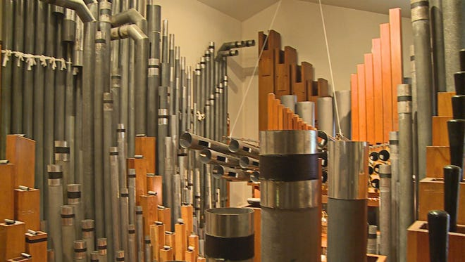 A portion of the 2,300-pipe organ installed in a home for sale in Grand Rapids, Mich.