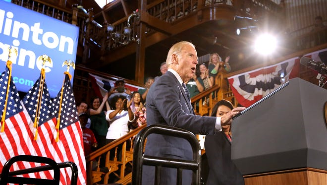 Vice President Joe Biden delivers remarks at the Cheyenne Saloon & Opera House, in Orlando as he rallies for Hillary Clinton on Monday. Biden was criticizing Republican presidential candidate Donald Trump for remarks suggesting that soldiers who suffer from mental health issues might not be as strong as those who don't.