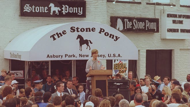 Former Gov. Christine Todd Whitman addresses the Memorial Day weekend crowd outside the Stony Pony in 2000.