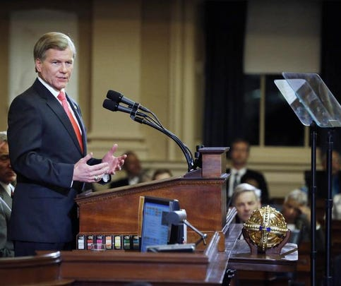 Virginia Gov. Bob McDonnell addresses the General Assembly at the State Capitol in Richmond, Va.