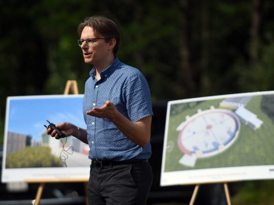 Brad Hoehne, director of the John Glenn Astronomy Park, talks at the parks groundbreaking ceremony, Wednesday, July 12, 2017, at Hocking Hills State Park near Logan.