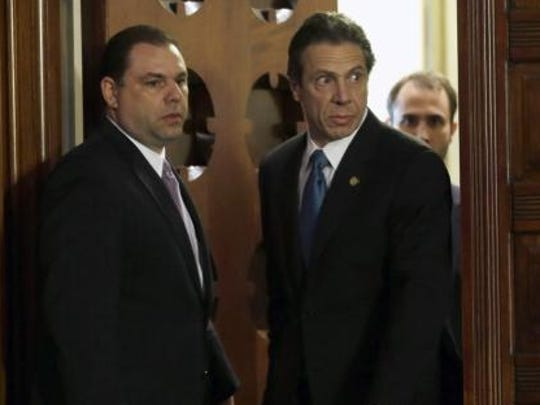 Joseph Percoco, left, enters the state Capitol's Red Room with Gov. Andrew Cuomo.