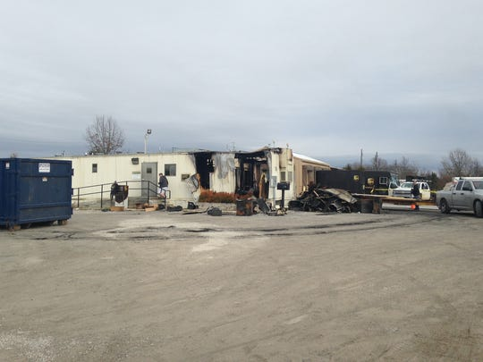 The scene of an early Sunday fire at the UPS facility at the industrial park in Midway
