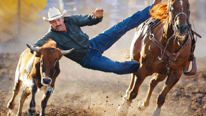Steer wrestler John Gee of Stanford attempts catch a steer in the steer wrestling event during the Big Sky Pro Rodeo Roundup at the Montana State Fair.